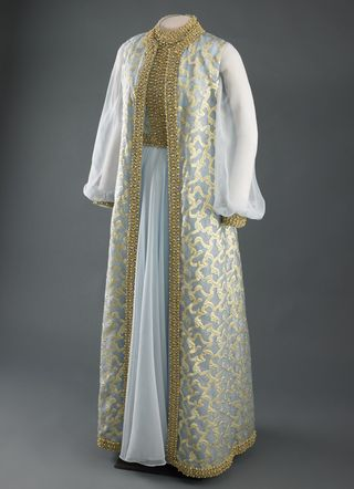 Rosalynn Carter's 1977 blue chiffon inaugural gown and sleeveless coat trimmed with gold embroider Inaugural Gown