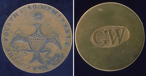 Brass button souvenirs of President George Washington's inauguration