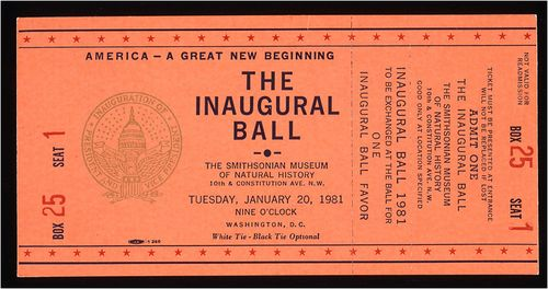 Ticket to the 1981 inaugural ball at the National Museum of Natural History