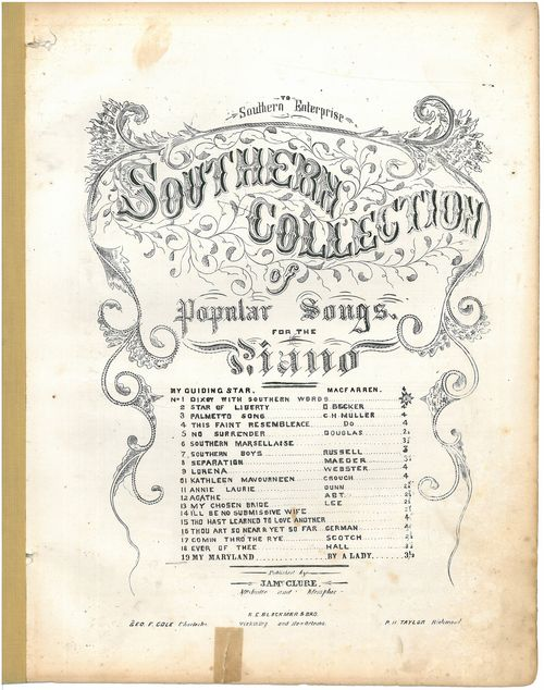 BMI Archives Confederate Music Collection, Archives Center, National Museum of American History, Smithsonian Institution