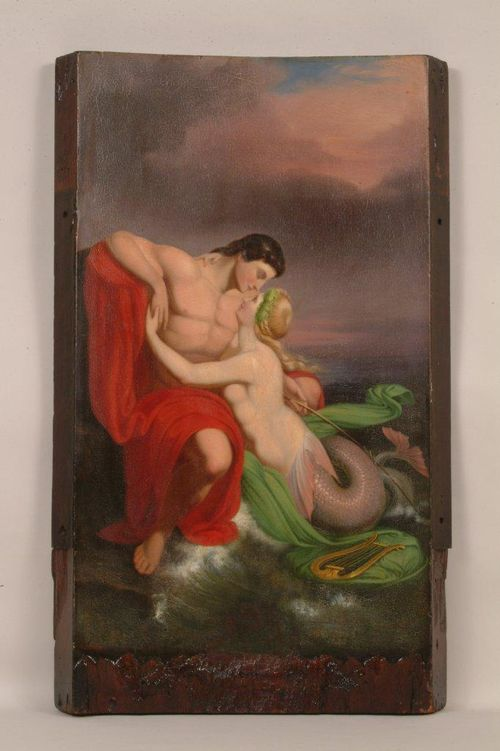 These mythological lovers feature on a painted panel that once hung from the fire engine of an early 19th century fire company in Philadelphia.