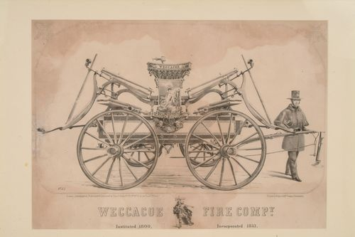 """The Mermaid and Her Lover"" can be seen in its place of honor at the center of the Weccacoe fire engine in this print from the 1850s. Not only were the engines highly decorated, but so were the firefighters themselves, sporting a painted cape and decorated hat as part of their standard uniform."