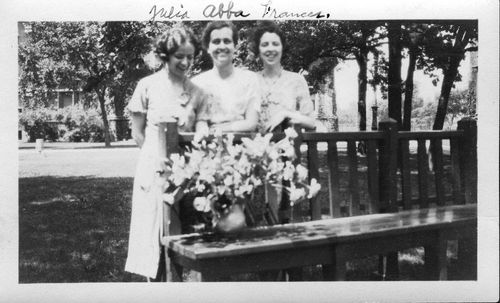 University of Chicago Mathematics Graduate Students Julia Bower, Abba Newton, and Frances Baker in 1933. Gift of Julia Bower.