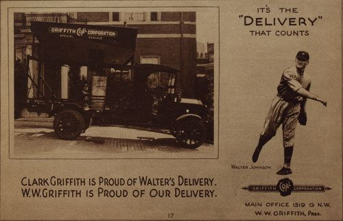 An endorsement for Griffith Oil featuring Washington's star pitcher Walter Johnson