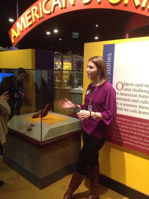 "Docent Daniela Resh shares the ""American Stories"" exhibition with a tour group"