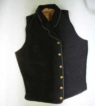 This regular, non-bullet proof vest was worn by a colonel in the Confederate Army Infantry.