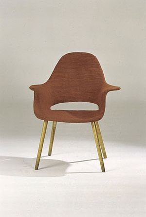 "Chair Designed by Charles Eames and Eero Saarinen for the ""Organic Design in Home Furnishings"" Competition, designed 1940, molded plywood, wood, foam rubber, and fabric. Courtesy of Vitra Design Museum."