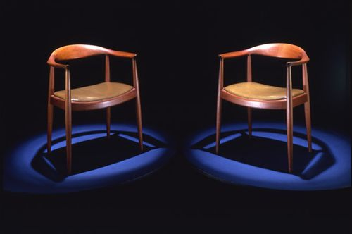 These two chairs were used by Kennedy and Nixon in the televised debates. They are the same chairs that you see in the above photograph.
