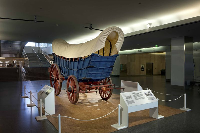 This ca. 1840-1850 Conestoga wagon, a freight hauler in Pennsylvania, represents the role of covered wagons in pushing the American frontier westward.