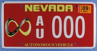 Nevada license plate issued for testing autonomous vehicles on the state's public roads. Photo by Wayne Wakefield.