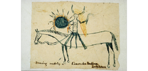 This drawing by an unknown artist of a Comanche warrior was likely prepared and collected in 1868 at the Kiowa and Comanche Agency in present-day Oklahoma.