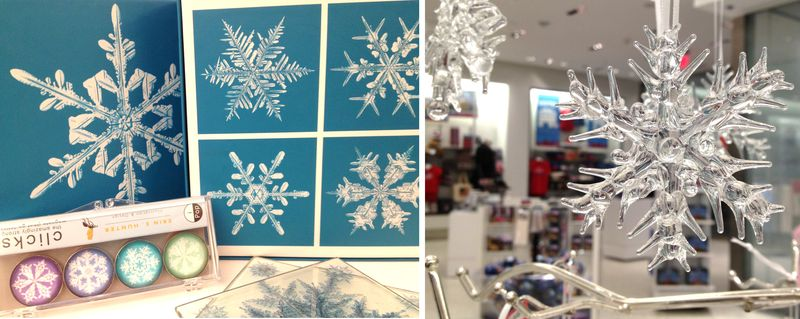 The museum store has a sparkly selection of snowflake-themed pop-up books, ornaments, note cards.