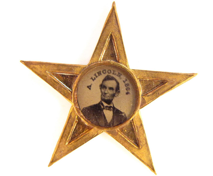 An 1864 campaign badge supporting Abraham Lincoln in the museum's collection