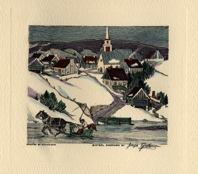 New England village scene with sleigh, greeting card design, Steelograph Co.