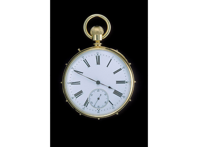 "This unusual watch, originally made to tell time in the dark, made the perfect present for Helen Keller. In 1892, when she was twelve, Keller met John Hitz, the superintendent of Alexander Graham Bell's Washington, D.C. establishment for the deaf, the Volta Bureau. Hitz, a retired diplomat, was the proud owner of a Swiss-made ""touch watch."" This uncommon watch has a case studded around the edge with pins that correspond to the hours on the watch dial. A revolving hand stops at a point between the pins that corresponds to the hour and approximate minute. With the hand and pins as locators, it was possible to feel the approximate time in the dark or, in the case of a diplomat like Hitz, discreetly. Hitz presented the watch to Keller, who prized it and used it her entire life."