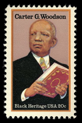 A 1984 stamp commemorating Dr. Woodson. U.S. Postal Service. All rights reserved.