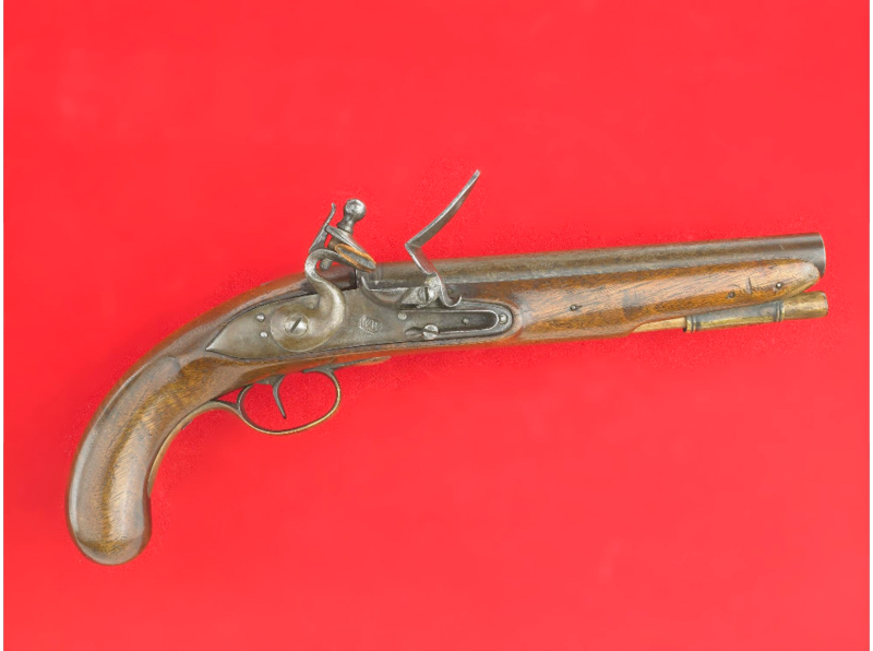 This .66 caliber smoothbore flintlock pistol was made by William Whetcroft of Annapolis Maryland around 1776.