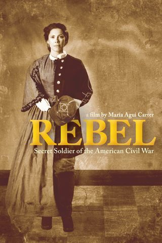 "The signature image for ""REBEL"" is a composite of two portraits of Loreta Velazquez passing as Lieutenant Harry T. Buford, soldier and spy of the American Civil War, played by actress Romi Dias.  Photo by Gerard Gaskin, graphic work by Hayley Parker."