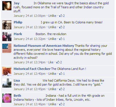 Discussion of regional history learned in school on the museum's Facebook page