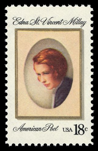 An 18-cent commemorative stamp honoring Millay was issued in 1981, in Austerlitz, New York, where Millay's farmstead, Steepletop, is located. The stamp is in the collection of the National Postal Museum. © U.S. Postal Service. All rights reserved.