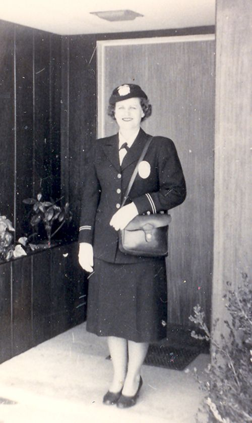 Irene Gardner in her badge and uniform c. 1950