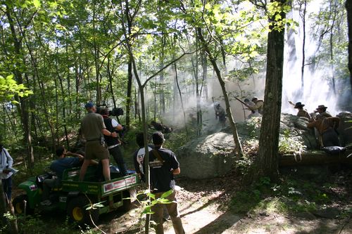 Filming battle charge in Massachusetts. Photo by Max Prum.