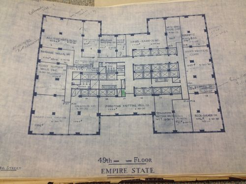 blueprints of the Empire State Building as it stood in 1968