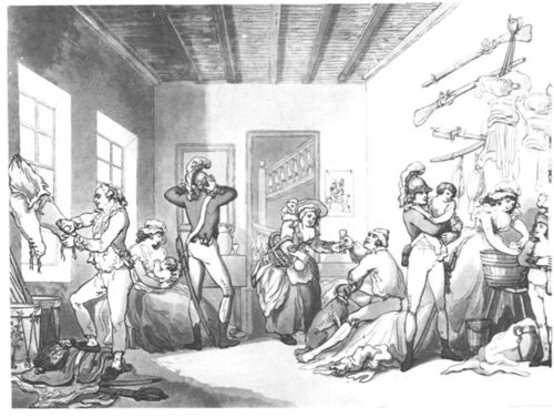 A drawing and etching by English artist Thomas Rowlandson (1756–1827), published as a colored aquatint (London: T. Malton, 1788), shows English light dragoons in barracks with several of their wives, one nursing an infant, another laundering, still another drinking. National Army Museum, London.