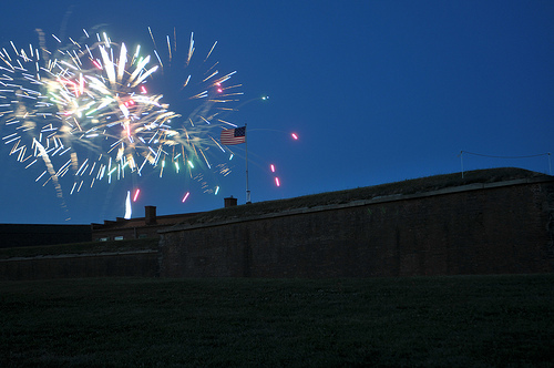 Fireworks over Fort McHenry from the U.S. Navy