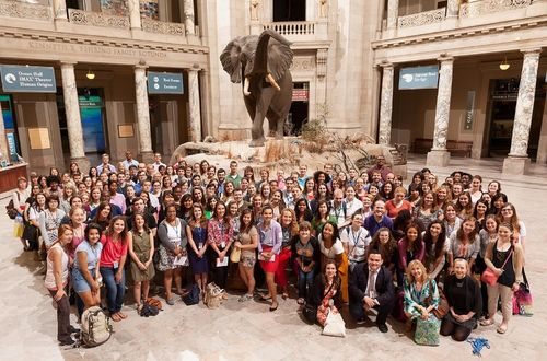 Smithsonian interns at the Morning at the Museum of Natural History event. Photo courtesy of Smithsonian Office of Fellowships & Internships.