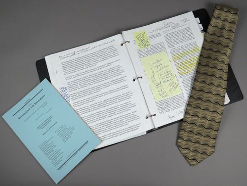 ttorney Paul Smith donated the notebook he used at the podium, the neck-tie he wore that day, and a copy of the legal brief.