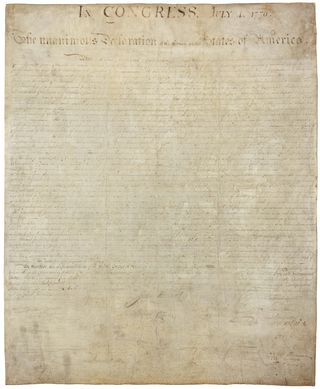 The original Declaration on parchment. Photo courtesy of the U.S. National Archives.