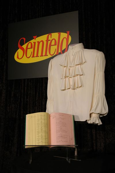 The puffy shirt with a copy of the episode script collected