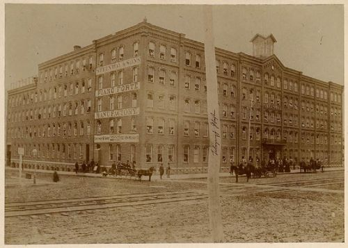 Steinway & Sons factory at Fourth Avenue between 52nd & 53rd Streets, circa 1861. From Collection 178, Steinway & Sons Records and Family Papers, 1857–1919, Archives Center, National Museum of American History Note the telegraph pole in the foreground