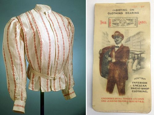 (Left) Shirtwaist, Fisk Clark & Flagg New York label, 1901-1911. (Right) Notebook advertising the United Garment Workers of America, 1908.