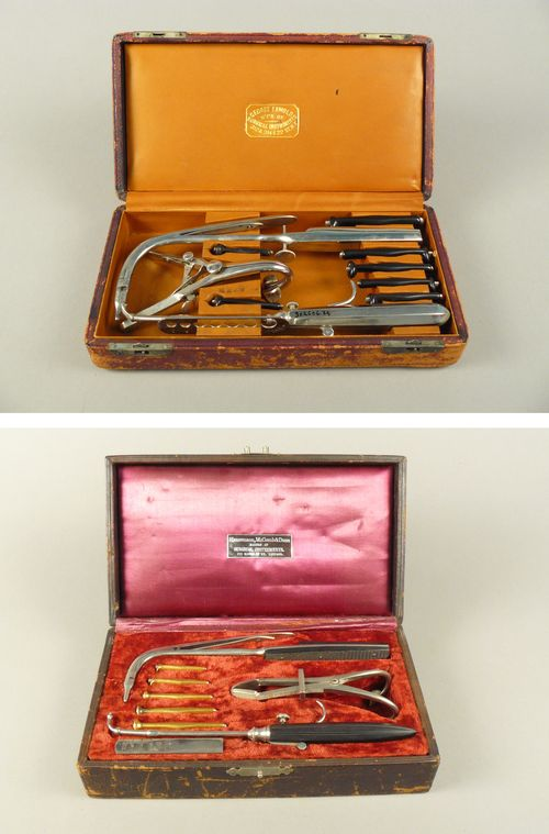 Two intubation kits from the collection. Tubes are hard rubber (above) and gold plated (below) and would remain in the patient's throat until he or she either became well and coughed them back out or died.