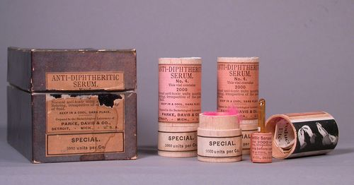 Antitoxin serum for diphtheria. Notice the hot pink fluff used to protect the glass ampule inside the wooden container.