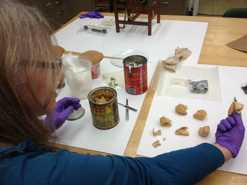Our curator examines the fortune cookies that date back to the 1930s—some are still intact!