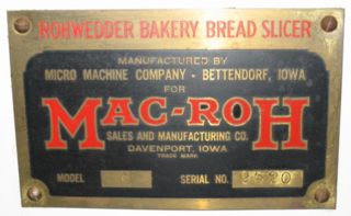 Tag from Rohwedder's second automatic bread-slicer