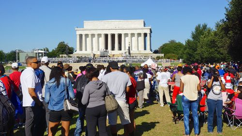 The public gathers near the Lincoln Memorial in August 2013. Photo by Flickr user tedeytan via the creative commons license.