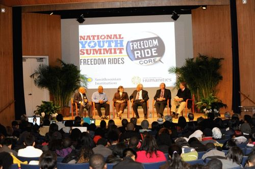 Congressman John Lewis, filmmaker Stanley Nelson, Diane Nash, Revered James Lawson, Jim Zwerg, and historian Ray Arsenault speak at the museum's 2011 National Youth Summit.