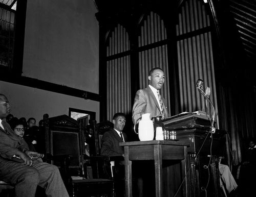Reverend Martin Luther King, Jr. at at the pulpit in the Howard University chapel. Scurlock Studio Records, ca. 1905-1994, Archives Center, National Museum of American History.