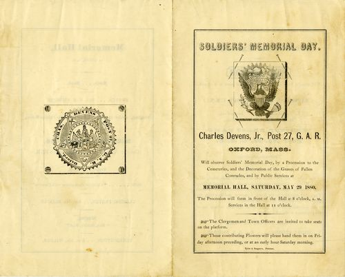 Program for Soldiers' Memorial Day, Oxford, Massachusetts, Saturday May 29, 1880. Warshaw Collection of Business Americana, Civil War series, Archives Center, National Museum of American History.