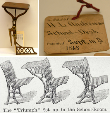 Interesting innovation in school desk patents from the 19th century