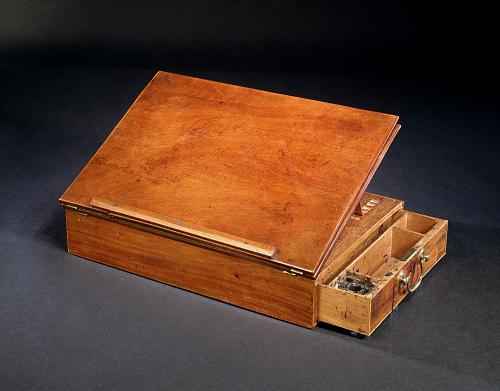 In 1776 Thomas Jefferson wrote the Declaration of Independence on this portable desk of his own design.