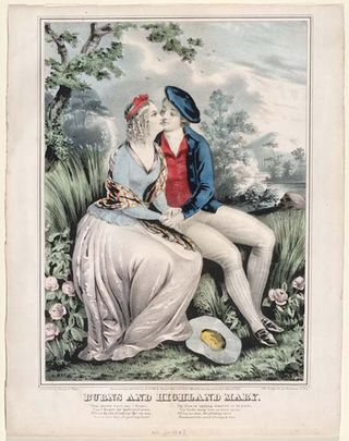 Burns and Highland Mary, print by Sarony & Major, 1846. This is an example of the romantic poet's attire that partially inspired the puffy shirt.