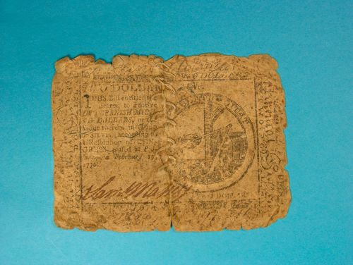 Currency from the American Revolution that was sewn together, ca. 1776
