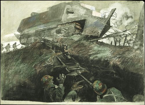 George Matthews Harding. Cleaning Out Boche Machine Gun Nest, AF*25740, Crayon and charcoal on paper.