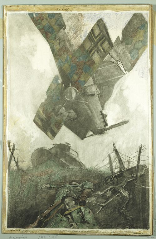 George Matthews Harding. Boche Plane Falling in No Man's Land of Verdun Offensive. AF*25738. Charcoal, pastel, and crayon on heavy textured wove paper.