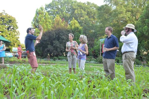 Smithsonian Gardens Horticulturist Joe Brunetti (left) leads tours of the Victory Garden